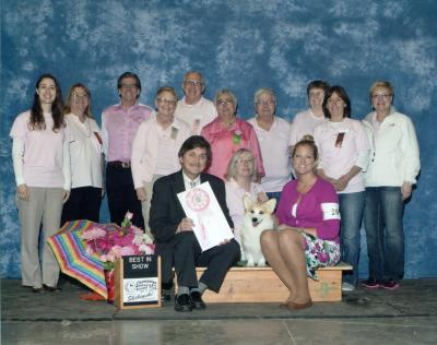 2013 Best In Show winner with some of our CIKC members at our Purebreds In The Pink cancer awareness show.